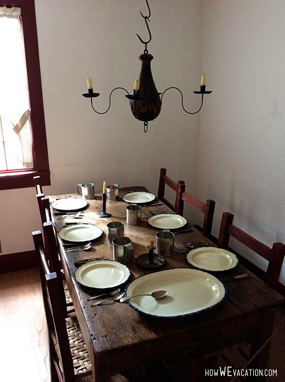 Dining Room inside Log Cabin