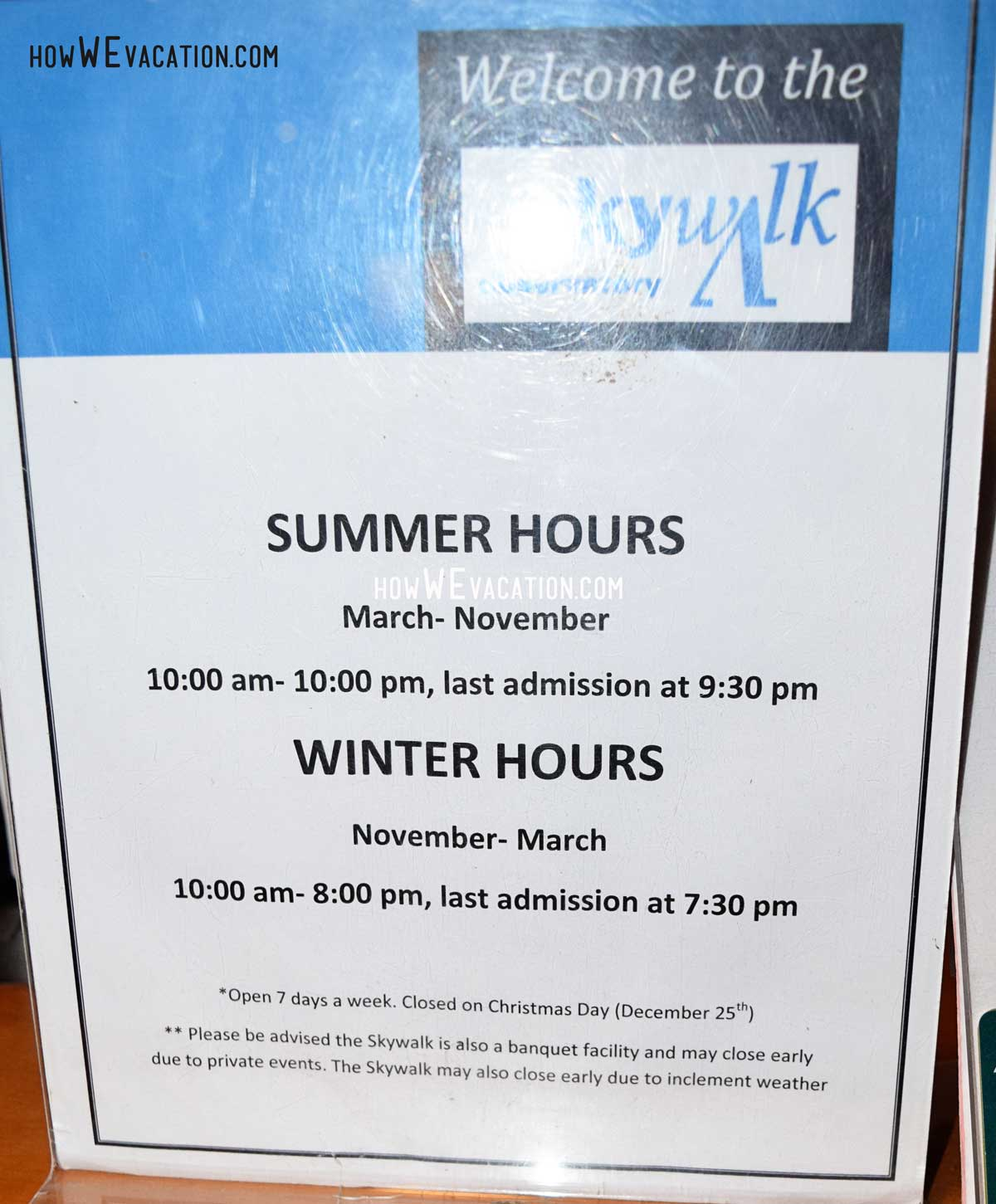 skywalk hours