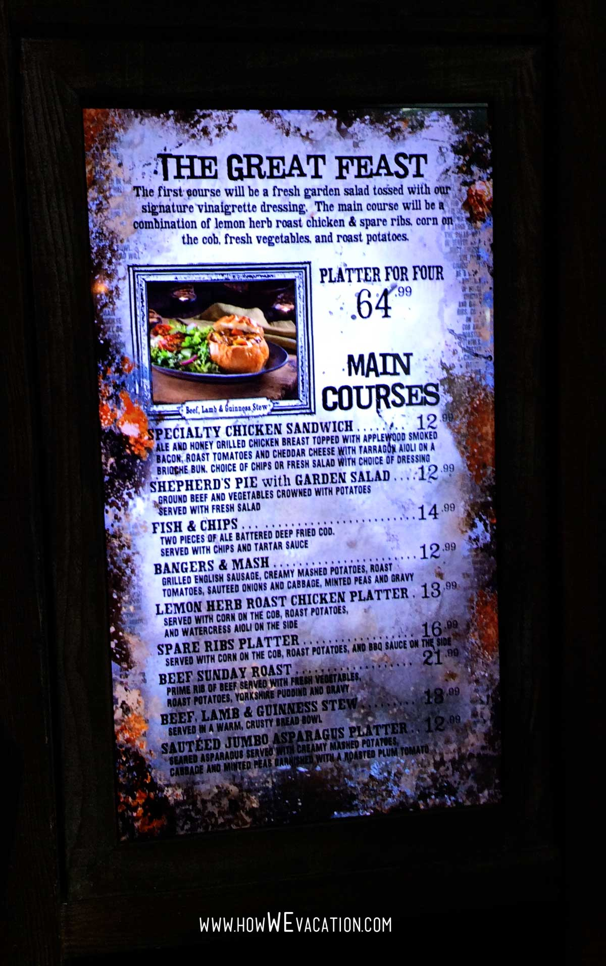 menu at the three broomsticks